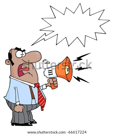 Angry African American Boss Man Screaming Into Megaphone,With A Word Balloon - stock vector