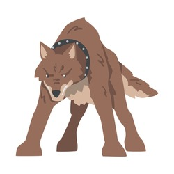 Angry Aggressive Brown Dog Standing in Fighting Pose Vector Illustration