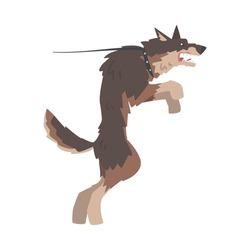 Angry Aggressive Dog Barking and Baring its Teeth Vector Illustration