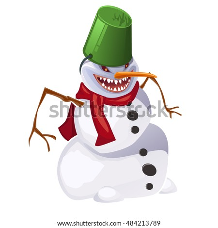 angry aggressive toothy snowman