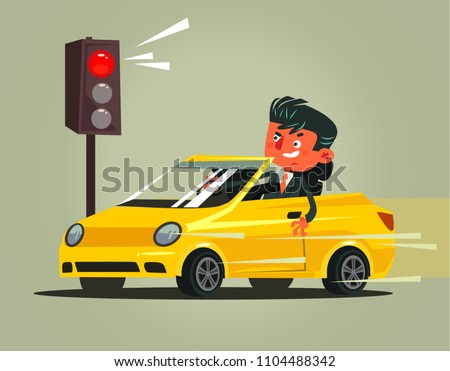 Angry bad rushing driver car man character braking violation low rules and riding on red traffic light. Transportation driving problems flat cartoon illustration graphic design concept Foto stock ©