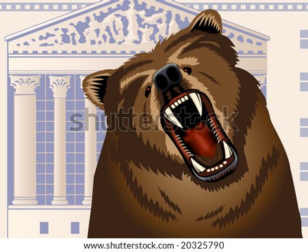 Angry bear growling with Stock Exchange building in the background - VECTOR