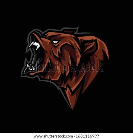 angry bear head mascot logo
