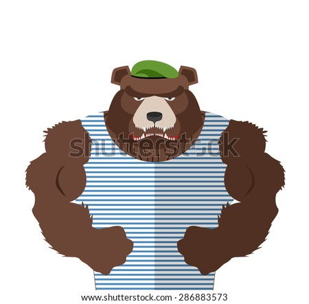 angry bear in striped vest