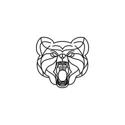 Angry Bear logo design with sharp fangs - Abstract Line Art / Monoline Logo Vector Illustration. Eps 10.