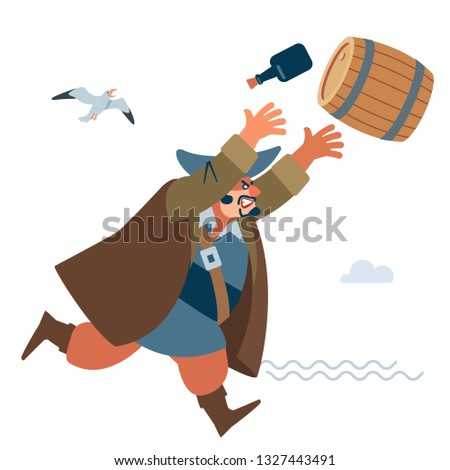 Angry big pirate throws the enemy a barrel of water. The character of the pirate. Vector illustration of flat cartoon on white background