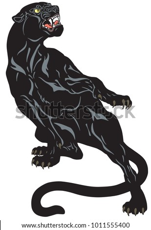 Angry black panther. Attacking pose . Tattoo vector illustration