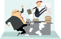 Angry boss and employee illustration.  Angry chief scolds his frightened employee and kicks him to the ass