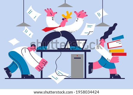 Angry boss and stressed staff concept. Angry man employer standing on table feeling mad because of failed deadlines and problems in business vector illustration