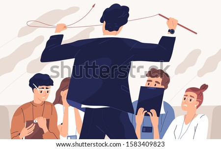Angry boss, irate teacher flat vector illustration. Team relations, fear atmosphere, attitude towards subordinates, screaming at students concept. Man with whip and frightened staff cartoon characters