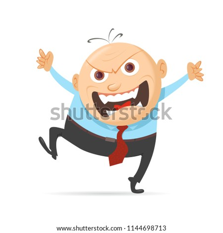 angry boss screams and stomps his feet
