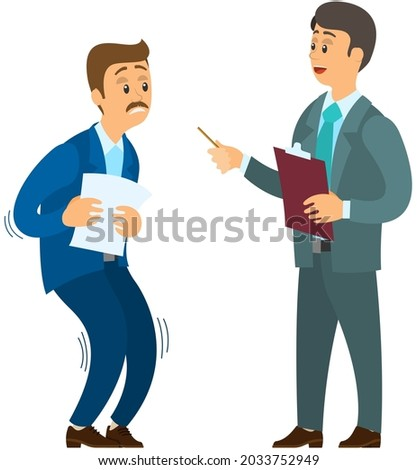 Angry boss shouting to employee. Conflict in office between chief and stressed subordinate. Director scolds scared worker. Man feels fear of boss. Fear of work, deadline, report to director Foto stock ©