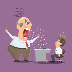 Angry boss shouts at male employee in office, illustration vector cartoon