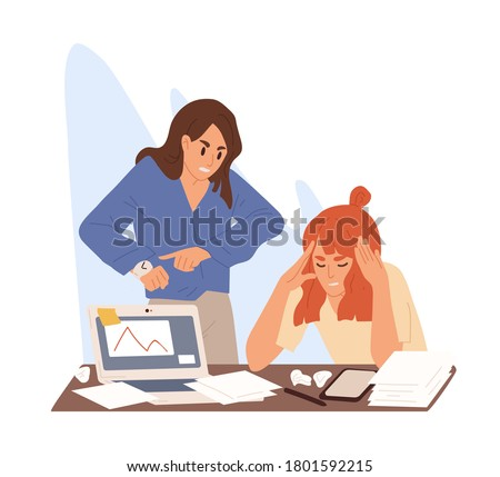 Angry boss stand over tired employee table. Stressed girl sitting with paper and hold head. Concept of pressure at work or deadline problem. Flat vector cartoon illustration isolated on white. Stock foto ©