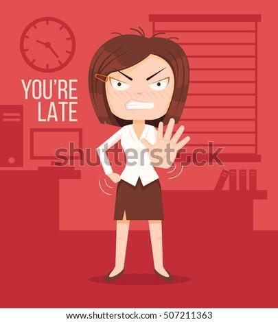 angry boss woman character