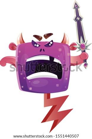 angry boxy purple monster