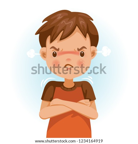 Angry boy. child in a red shirt is expressing anger. Excitement and frown. Cartoon characters, vector illustrations, isolated on white background.