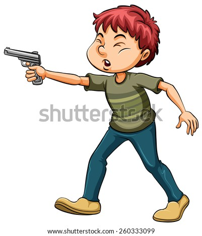 angry boy holding a gun on a