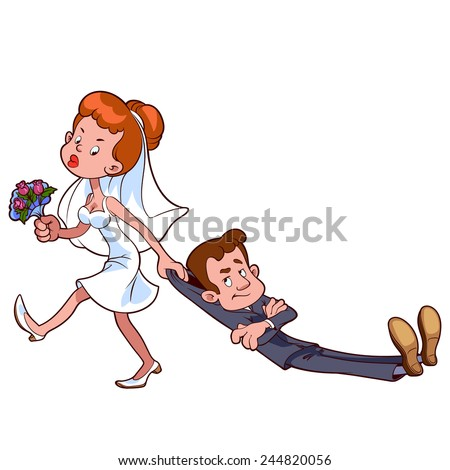 Vector Images Illustrations And Cliparts Angry Bride Drags The