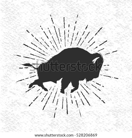 angry buffalo on white background.Vintage style.Vector symbol