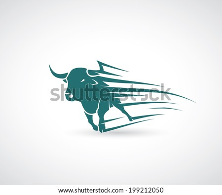 Angry bull attack vector illustration