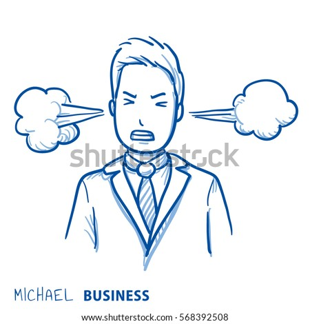angry business man with steam