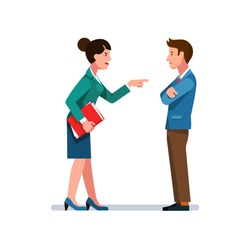 Angry business woman pointing finger at man. Colleague reprimanding, blaming, accusing coworker of mistake. Office workers conflict. Argument, confrontation & dispute. Flat vector illustration