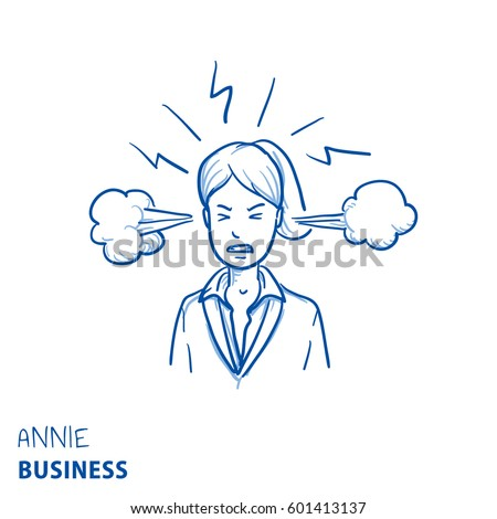 Angry business woman with steam coming out of her ears, concept for stress, burnout, headache, too much work, hand drawn doodle vector illustration