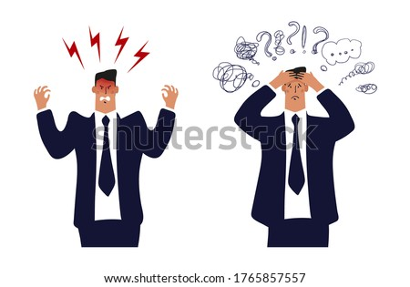Angry businessman, a man in a suit and tie is upset or furious. Concept of a burnout office worker, problems at work. A businessman with a headache, a man in stress from work and problems. Flat vector