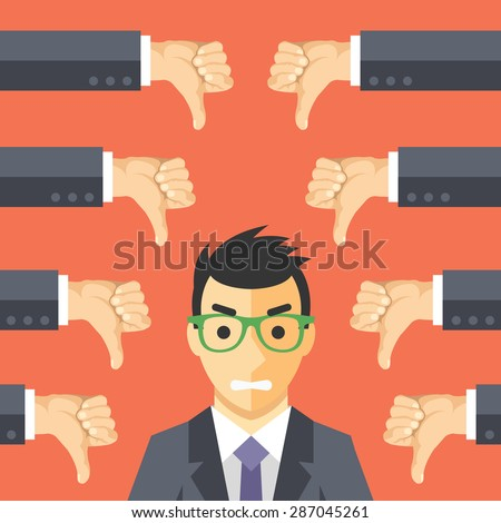 angry businessman and many