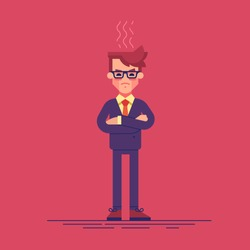Angry businessman is standing with arms crossed. Vector illustration.