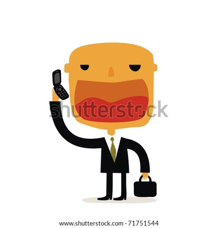 angry businessman talking by phone - stock vector