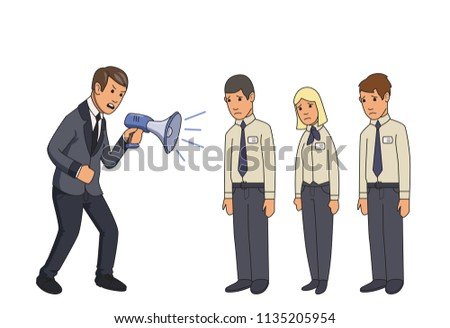 Angry businessman with megaphone shouting at subordinates. Colored flat vector illustration. Isolated on white background. Bullying At Work.