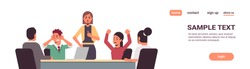 angry businesspeople arguing during meeting business people having problem working in team together conflict concept businesswoman screaming at employees portrait horizontal copy space vector
