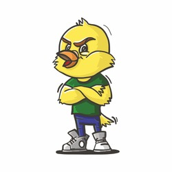Angry canary bird illustration for baby apparel and print.