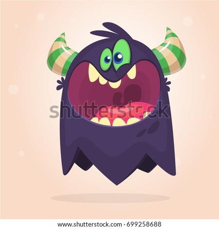 angry cartoon black monster