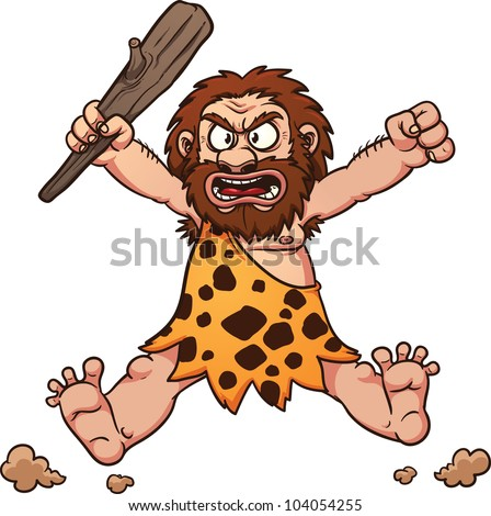 Angry cartoon caveman jumping. Vector illustration with simple gradients. All in a single layer.