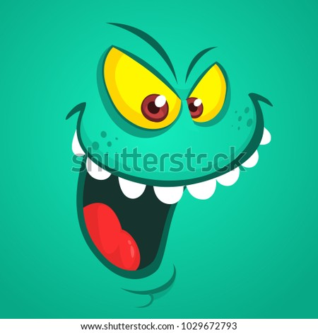 Angry cartoon monster face. Vector Halloween  monster avatar