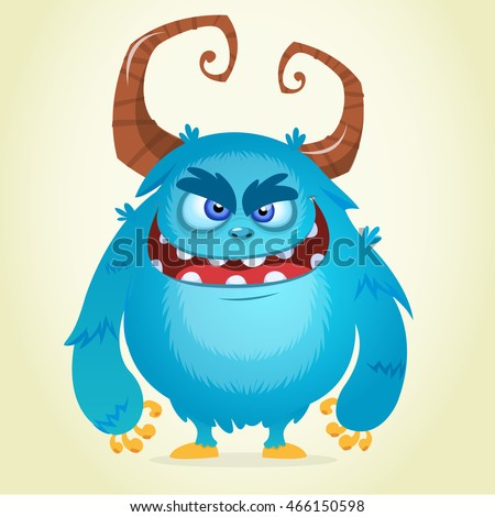 Angry cartoon monster. Halloween vector blue and horned monster