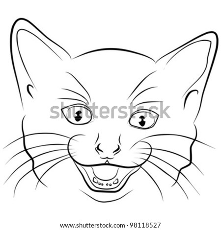 angry cat - head on a white background , vector illustration