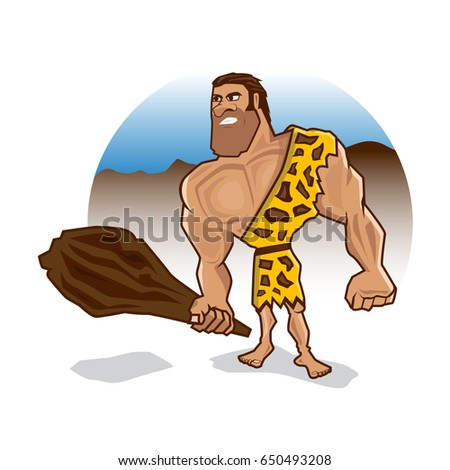 angry caveman holds a wooden