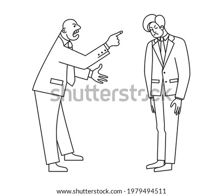 Angry chief shouts at the subordinate. Disgruntled boss insults the employee. Conflicts at work. Negative emotions. Contour drawing on an isolated white background. Stock photo ©