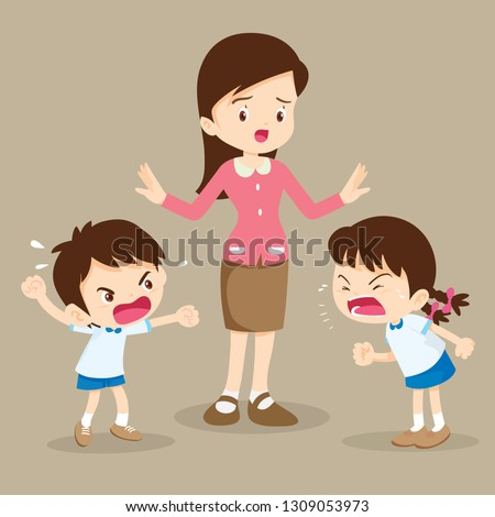 angry child.teacher tried to stop the children shouting to each other.boy and girl arguing.bullying children.