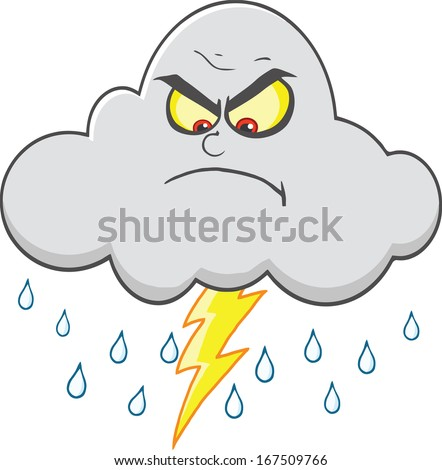 angry cloud with lightning and