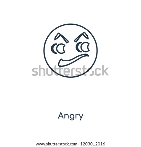 Angry concept line icon. Linear Angry concept outline symbol design. This simple element illustration can be used for web and mobile UI/UX. #1203012016