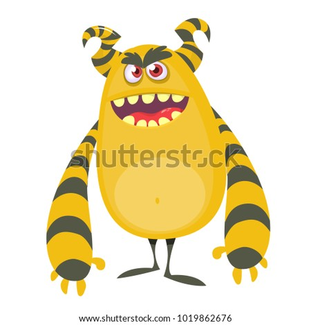 angry cool cartoon fat monster