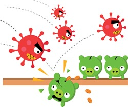 Angry coronavirus attacks piggy banks cash savings for a rainy day