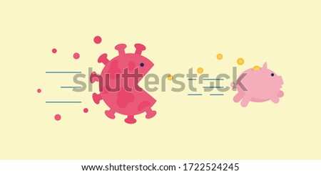 Angry coronavirus cell chase after piggy bank losing money trying to eat it. Corona virus economy crush, financial crisis, people have no money concept. Money pig runs from virus vector illustration. Foto stock ©