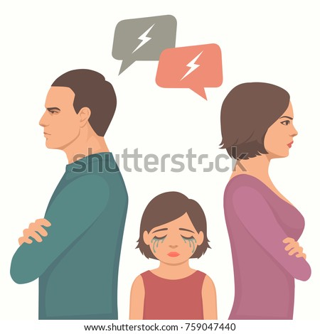 angry couple fight, parents divorce, sad child crying, family vector illustration