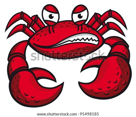 Angry crab with claws in cartoon style for mascot or emblem design, such a logo